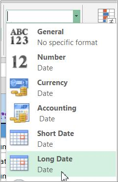 Use formatting to change the appearance of dates, times, decimals, percentages (%), currency ($), etc.