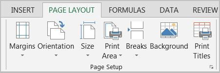 You can also launch the Page Setup dialog box and find more commands for the tab. It is easier to use the Page Layout View at the bottom right corner to insert the Headers and the Footers visually.