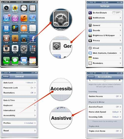 POST-REPAIR To disable assistive touch on your device: Tap