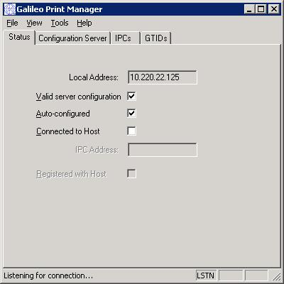 c. Select Print Manager to display the Galileo Print Manager dialog. Minimize the dialog. d. Open MQ Print Manager.