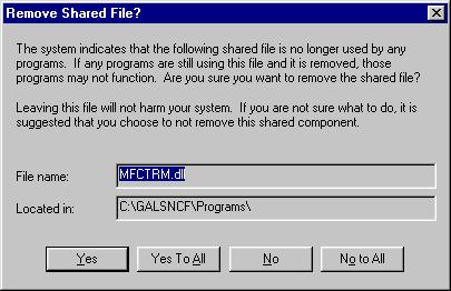 7. If prompted to remove one or more shared files, click Yes to All. 8.