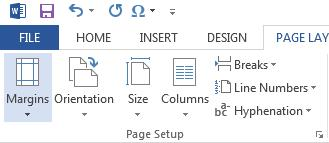 4. Expand the Page Setup section by clicking the expansion arrow. A window opens. If an options box has the expansion arrow, it means there are many more options and designs to choose from. 5.