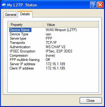 Setup Scripts for L2TP/IPSec on Windows 2000 or XP Figure 4-11. My L2TP Status Window, Details Tab Note: Both PIN and IPSec shared secret are embedded into the CMAK package.
