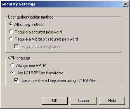 The Security Settings window appears. Select Use L2TP/IPSec if available and then select the Use a pre-shared key when using L2TP/IPSec option.