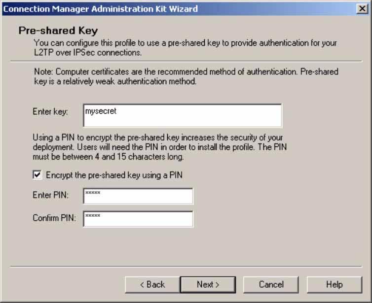 Setup Scripts for L2TP/IPSec on Windows 2000 or XP Step 11. The Pre-shared Key screen appears.