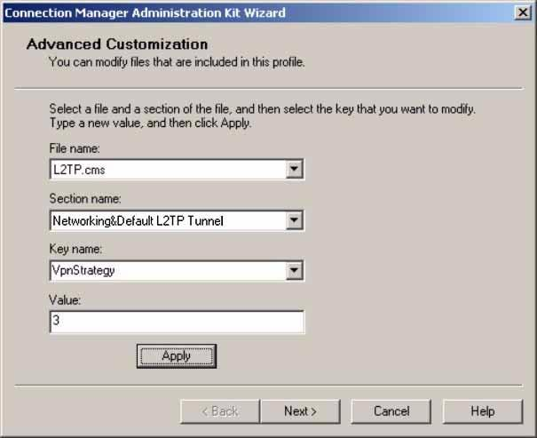 Setup Scripts for L2TP/IPSec on Windows 2000 or XP Figure 4-19. Advanced Customization Screen b. Select Networking&Default L2TP Tunnel from the Section name menu.