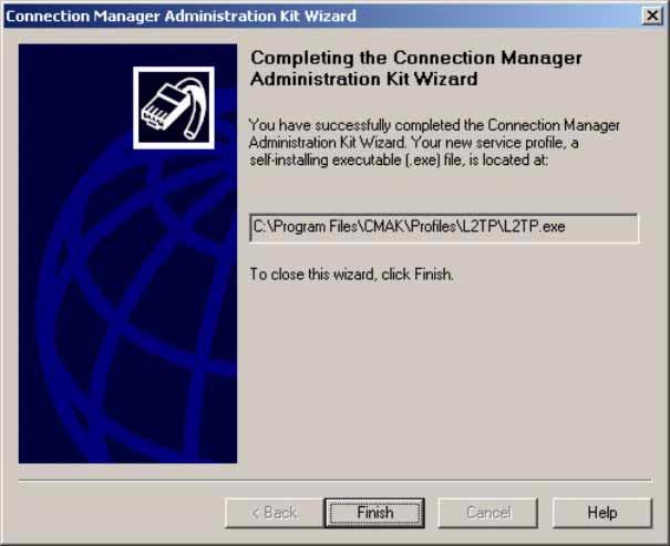 Setup Scripts for L2TP/IPSec on Windows 2000 or XP This will build your files. Figure 4-21. Connection Manager Administration Kit Wizard, Completion Window Step 28. Click Finish.