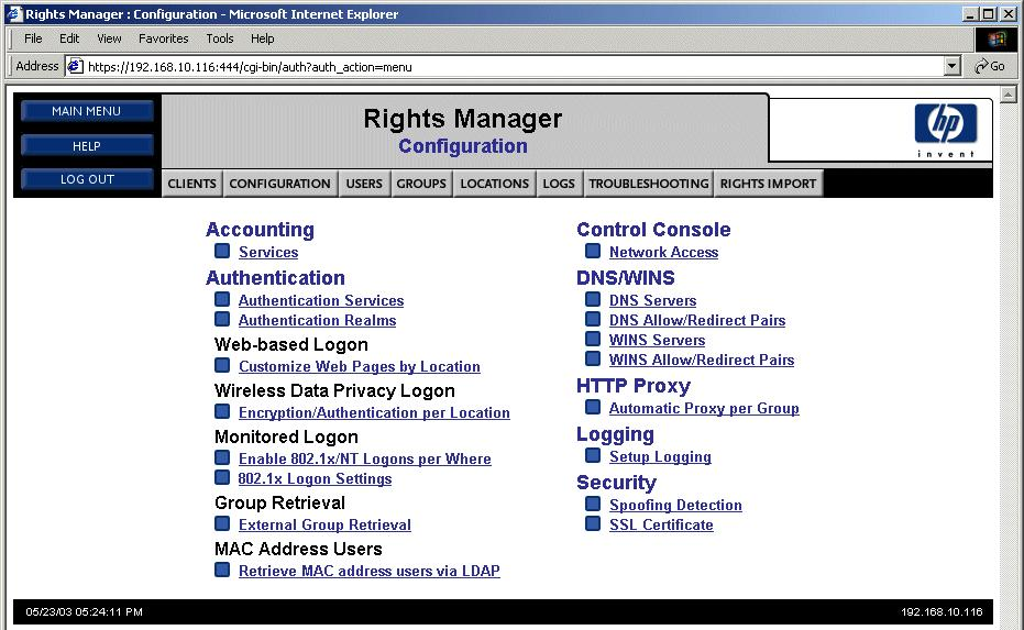 Configuring Security on the 700wl Series Configuring the Rights Manager for PPTP Do the following to configure the Rights Manager: Step 1.