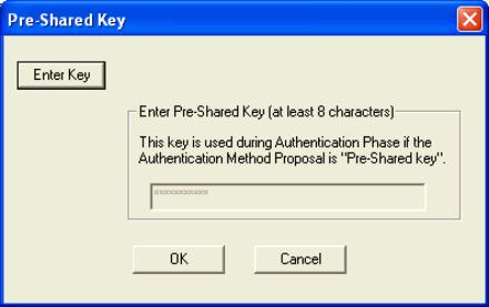 Click the Enter Key button and then enter the shared key in the text box.