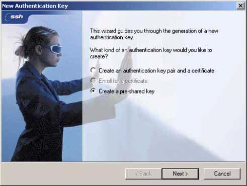 Step 3. Click the Add button to start the New Authentication Key wizard (Figure 3-9). Figure 3-9.