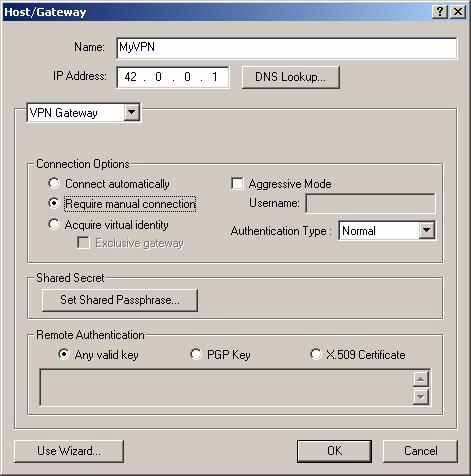 Figure 3-16. Host/Gateway Window A new entry appears in the PGPnet panel, with the name you entered ( MyVPN in this example).