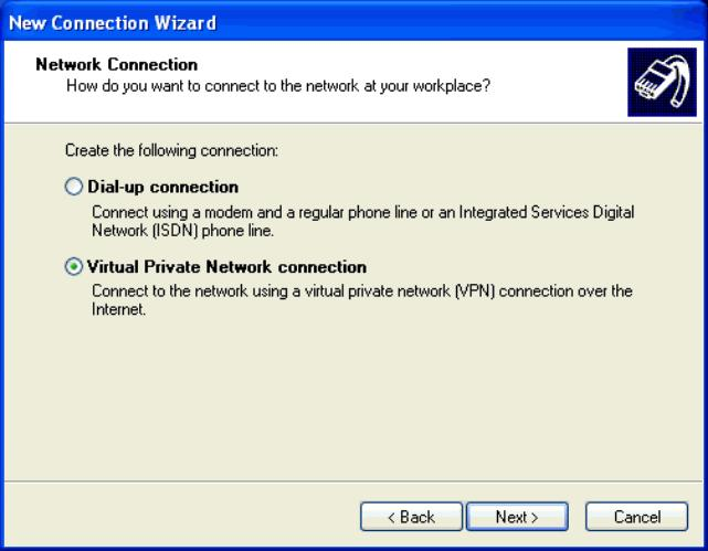 Figure 3-33. Network Connection Type Window Step 5. Select the Virtual Private Network connection option. Click Next>.