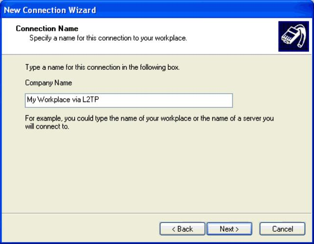 Figure 3-75. Connection Name Window Step 7. Enter the IP address of the VPN server in the Host name or IP address text box. In this case, the internal address 42.0.