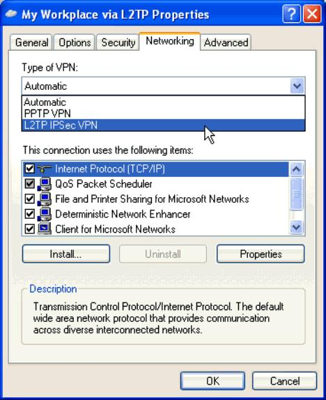 Figure 3-79. L2TP Properties Window, Networking Tab Step 11. Click the Security tab to customize the security protocols. Select Advanced (custom settings) and then click the Settings button.