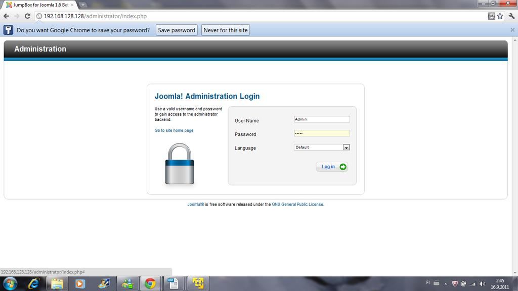 Appendix 2 Step 6 Provide the administration username and password you provided when you were configuring the page as
