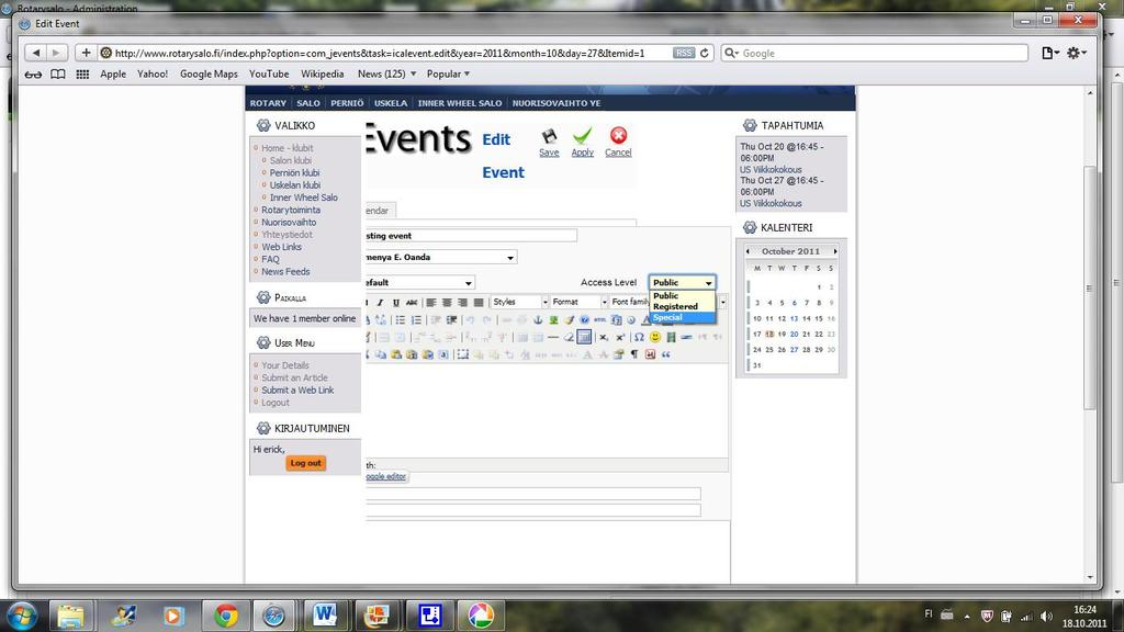 "Appendix 4 Click on the ""add event"" icon. It leads you to a place where you can add your event, define when it can be visible, by whom and when."