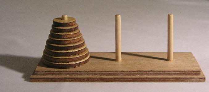 3 The Towers of Hanoi Towers of Hanoi In the Towers of Hanoi game, there are three pegs and n rings of different sizes.