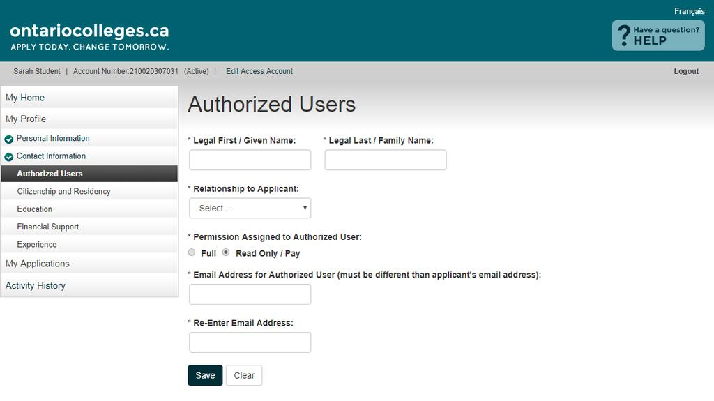 Authorized Users - Add an Authorized User PERMISSION ASSIGNED TO AUTHORIZED USER Full Authorized individuals can make payments and changes to your application information only.