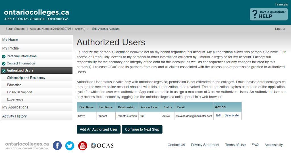 Authorized Users - Summary Authorized individuals, once added, receive account activation emails and are asked to create their own unique usernames and passwords to access your account.