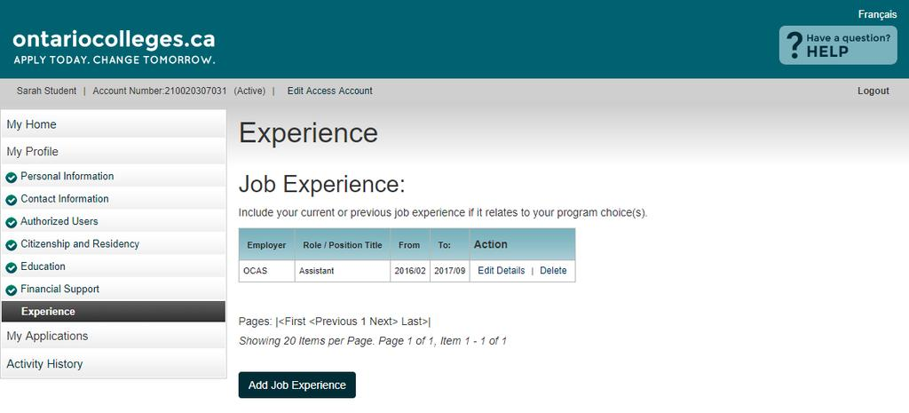Experience - Summary View Details view existing information Edit Details update