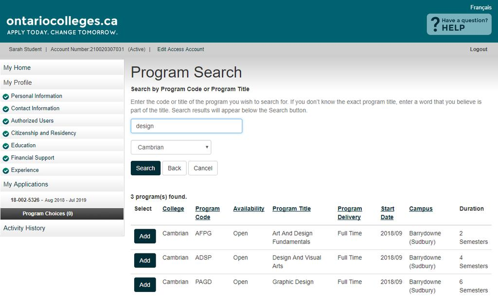 Program Choices Program Search Results Make sure you select the correct Program