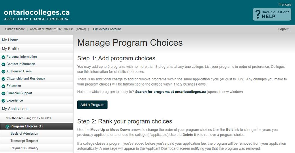 Program Choices Manage Program Choices Click the Add a