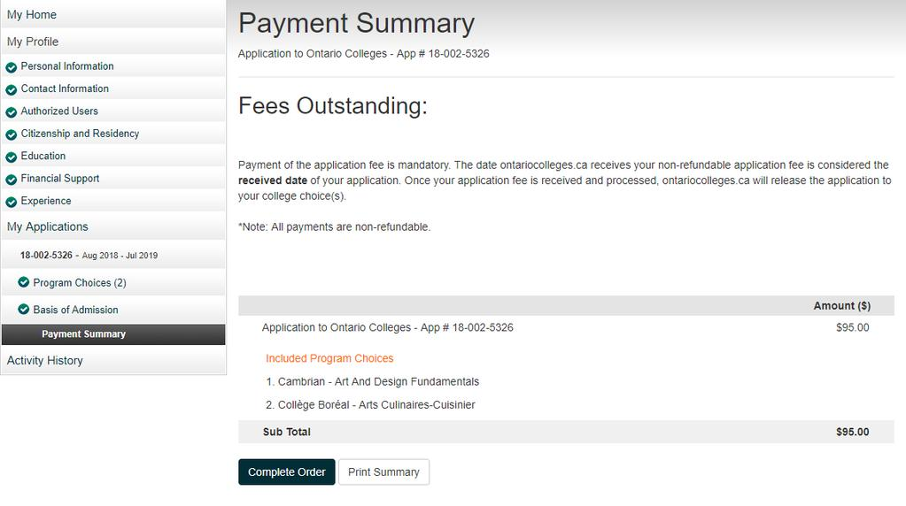 Payment Summary Review your fees.