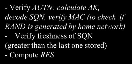 decode SQN, verify MAC (to check if RAND is generated by home network) - Verify freshness of SQN (greater than