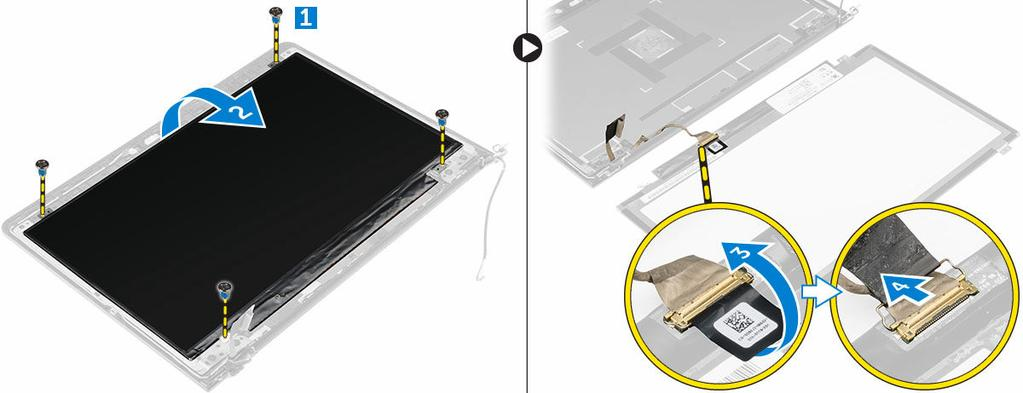 b. battery c. heat sink d. WLAN card e. display assembly f. display bezel 3. To remove the display panel: a. Remove the screws that secure the display panel [1]. b. Lift the display panel and turn it over [2].