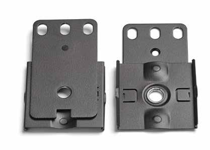 Ease of installation Patented clip feet allow for multiple mounting methods Mounting buttons come pre-installed to reduce installation time Double-sided buttons accommodate different variations of