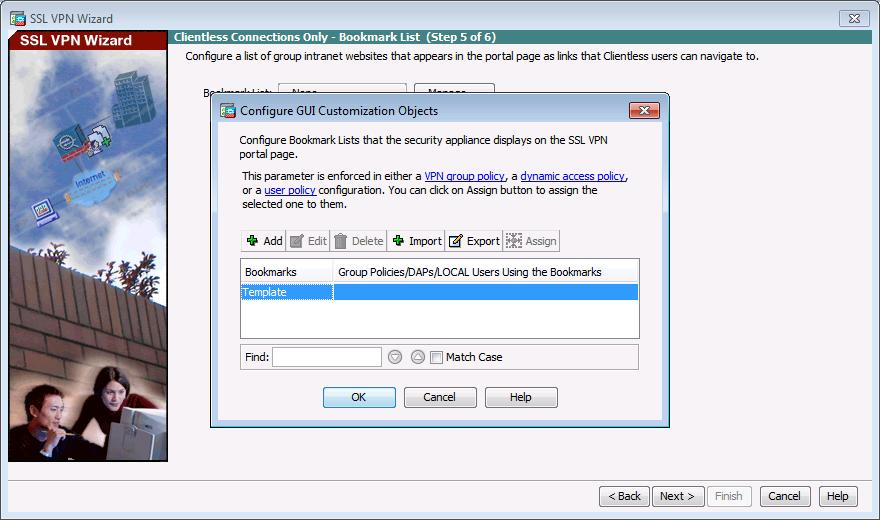 b. In the Configure GUI Customization Objects window, click Add to open the Add Bookmark List window.