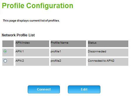 Internet Profile Configuration This page displays the network profiles that are currently being used.