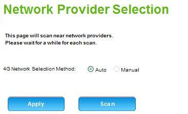 Internet Network Scan This function scans for nearby network providers.