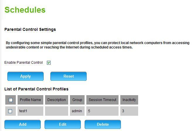 Step 2: Go to Rules for schedule page Check the box to Enable Parental Control