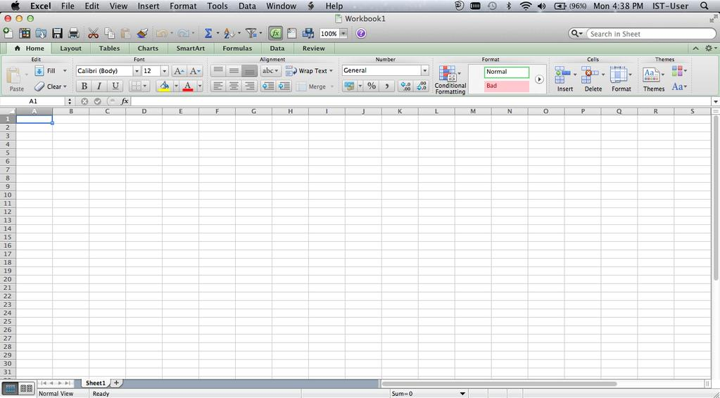 Starting Excel 1. Click on the Microsoft Excel icon located on the Dock. 2. The Microsoft Excel application will open.