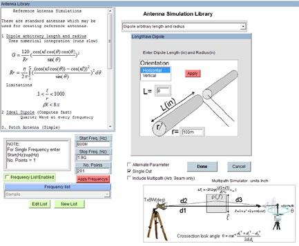 VNA Emulator / Antenna Library Antenna Simulation Library This feature is accessed by selecting VNA Emulator from the instrument pulldown.