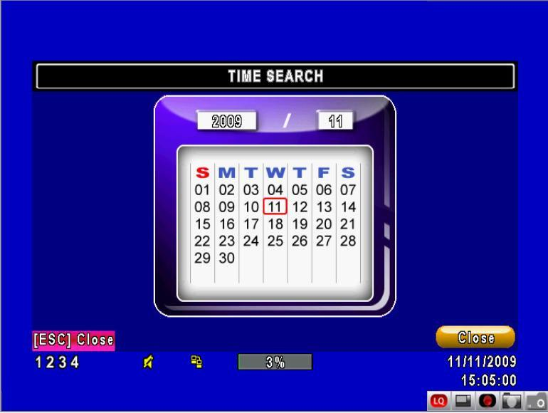 Time Search: Time search will allow you to search for data from a specific date and time.