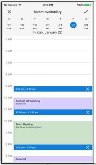 Users can send their calendar availability with a few simple taps without invoking the keyboard or