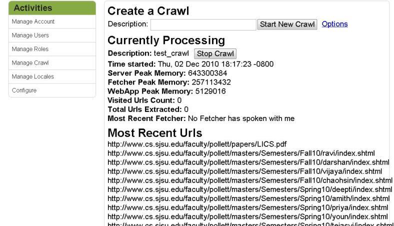 We can initiate a new crawl by typing the name for the crawl in the admin crawl page, as shown below: Figure 7: Yioop!