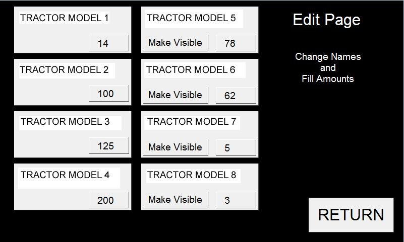 Each tractor is assigned a model number and the customer wants to assign a batch quantity amount to each tractor based on it s related fuel tank size.