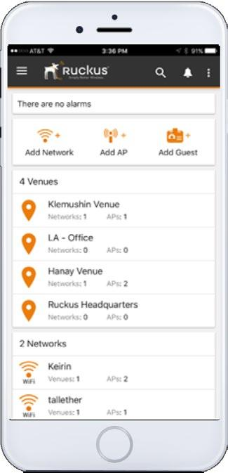 notifications Get notified of AP status Scan serial# of AP to add to venue Customize captive portal splash content and