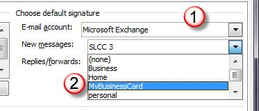 Find your business card in the list. 2. Click OK. You card will appear in the Edit Signature display area.