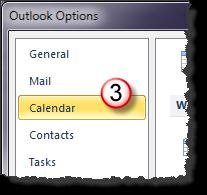 Set Workdays and Times To set workdays and times do the following: Open the Calendar Options window. 1. Select the File tab on the Ribbon. 2. Select Options.