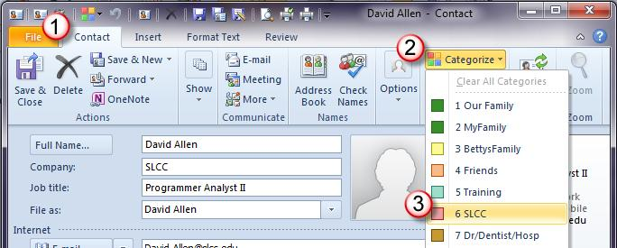 Assigning a Contact to a Category Now that you have your categories set up, you can assign your contacts a category. As you add new contacts, they also can be assigned to a category.