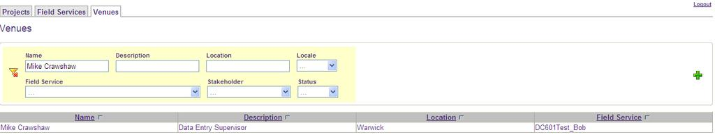 OR select the VENUES tab (easiest fr assigning a Data Entry Supervisr t a number f prjects) N.B.