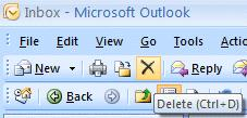 NCMail: Outlook 2007 Email User s Guide 14 Deleting unwanted messages If you do not want to keep the message, you can click-on the X button, in the button bar, to send the message to a Delete folder.