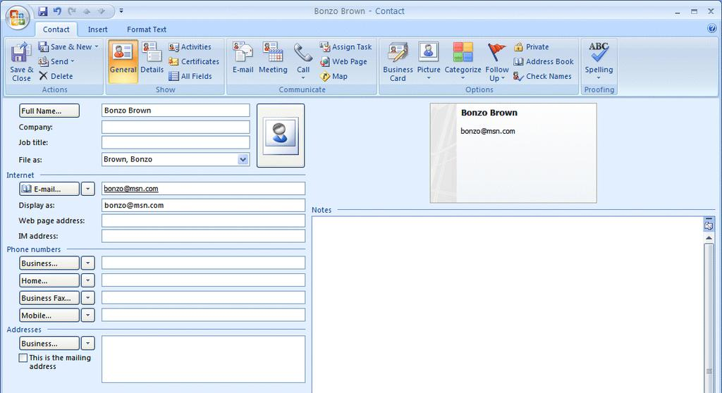 NCMail: Outlook 2007 Email User s Guide 21 The Contact entry menu screen appears below.