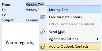 NCMail: Outlook 2007 Email User s Guide 23 Adding Names to your Contacts as you receive e-mail in your Inbox Big Note: Right-clicking on an e-mail address also works when you receive a message from