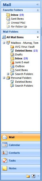You ll notice in the top area that it indicates Mail. Below Mail there is an area called Mail Folders.