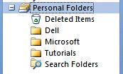 Creating Personal Folders To create a Personal Folder, do the following: Click-on File in the Menu Bar, then click-on New in the drop down menu, and then click-on Folder The